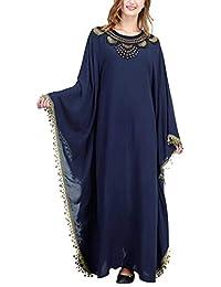 Arabe de Kaftan Mujer Vestidos - Ropa Abrigo Maxi Largo Abaya Musulmana Islamica Bordado Algodon