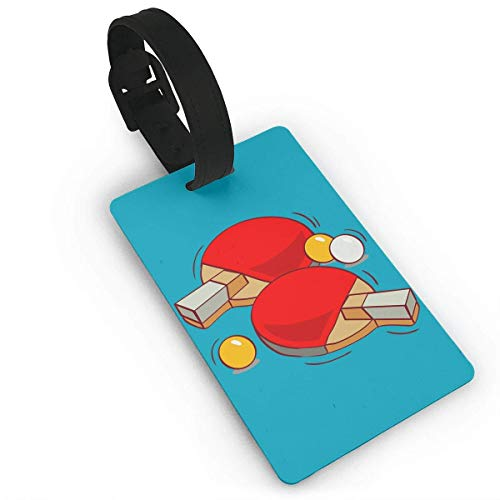 Ewtretr Gepäckanhänger for Travel Luggage Tags with Genuine Hand Strap Red Table Tennis Travel Suitcase Bag Tag Identify Label -