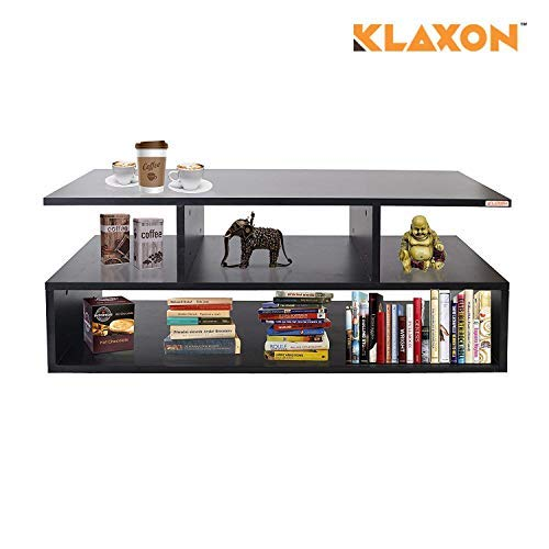 Klaxon Keelan Coffee Table - Side Table with Shelves (Black, Matte Finish)