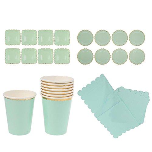 (Sharplace Grün Einweg Party Set mit Tellern, Bechern und Servietten, 44-Teilig)