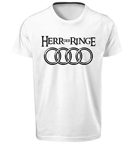 Audi Herr Der Ringe Herren T Shirt T-Shirt Prime Quality Kurzarm (Weiß, L)