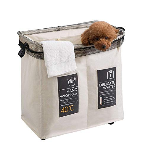Dough.q - cesto portabiancheria pieghevole, con 2 scomparti, dimensioni (a x l x p): ca. 54.5 x 35 x 58 cm cesto portabiancheria con sacco portabiancheria in cotone e lino, antimacchia da rimuovere
