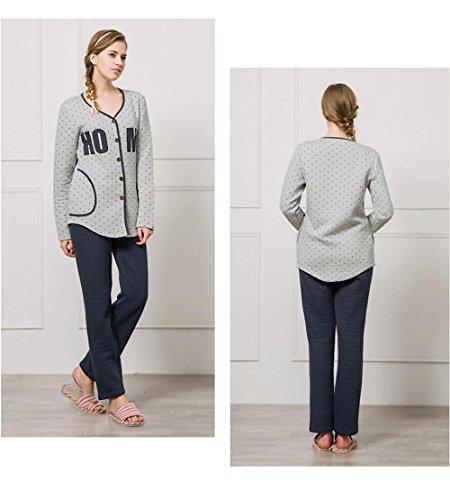 Manica lunga cotone pigiama vestaglia inverno nightwear Ultima donna gray