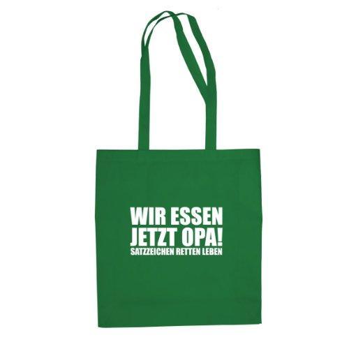 Satzzeichen retten Leben - Stofftasche / Beutel Grün