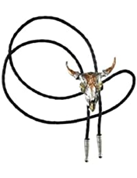 Bolo tie Made in USA Argent et Or 14Kt Cravate indienne cowboy country tete de Buffle - Cordon cuir BT1166