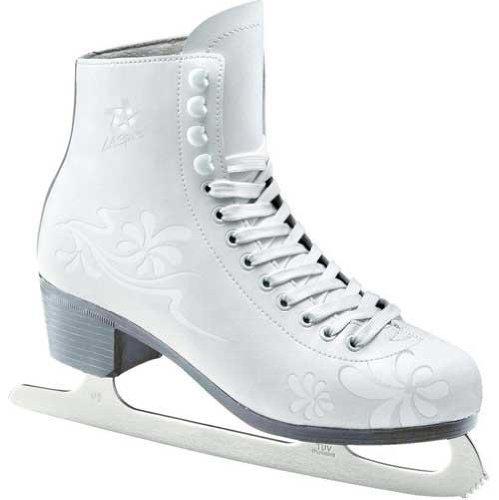 L.A.Sports Damen Schlittschuhe Eiskunstlaufschuhe PVC-Leder, Weiß/Grau, 36-37, 13662-37