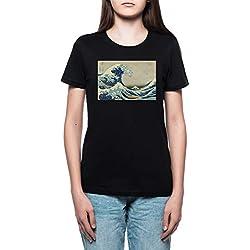 camiseta hokusai la gran ola mujer