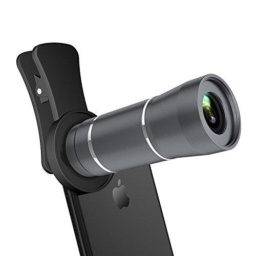 12X Handy Teleobjektiv, Maxcio Universal Clip On für zwei Kamera und einstellbare Klarheit, Handy Kamera Objektiv für iPhone X, iPhone 8/8 Plus 7/7 Plus,Samsung S8 S7 & Die meisten Smartphones