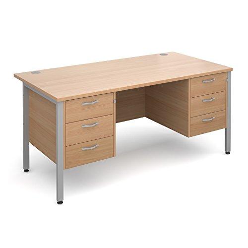 Büro Elefant oe02-mh16p33sb Maestro 251600x 800x 725mm gerade, Schreibtisch mit 3+ 3Schubladen befestigter Ständer–Buche/silber H Rahmen