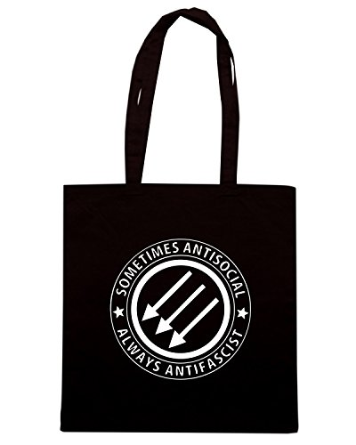 T-Shirtshock - Borsa Shopping TCO0025 sometimes antisocial always antifascist Nero