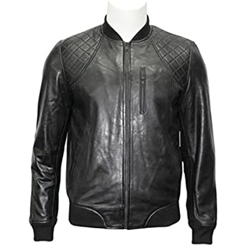 Bomber in pelle nera Uomo Sottile Fit casuale Giacca