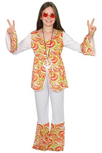 Foxxeo 40177 | cooles Hippie Kostüm für Kinder Karneval Fasching Party Flower Power Gr. 134-164, Größe:158/164