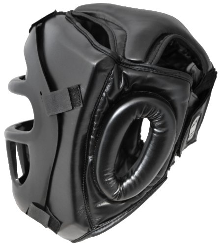 Pro PU Full Face Kopfschutz mit Maske Visier Gitter Thaiboxen Abbildung 2