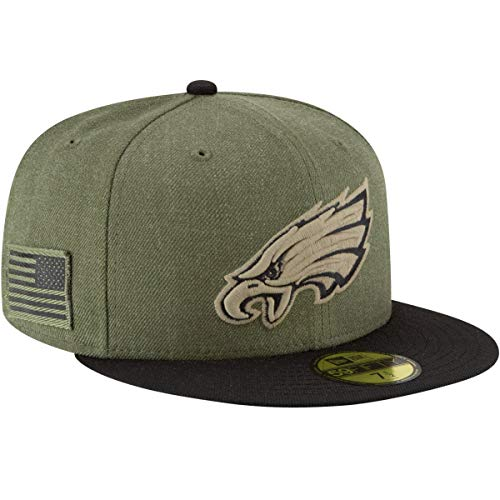 New Era Philadelphia Eagles On Field 18 Salute to Service Cap 59fifty 5950 Fitted Limited Edition, Green, 7 - Team Bekleidung Trikot Hat