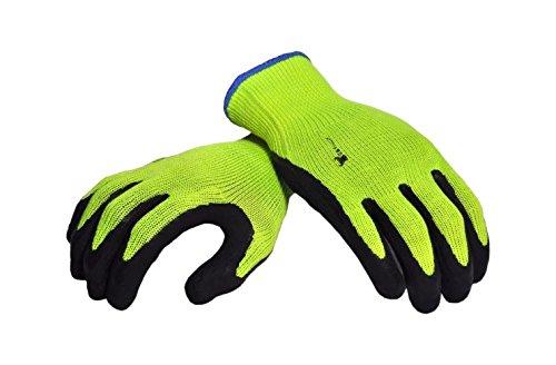 G & F 1516x l Premium Hohe Sichtbarkeit alle Zweck MICROFOAM Doppelter texure Beschichtung Sicherheit Arbeit und Garten Handschuhe für Damen und Herren, grün, 1516M-3