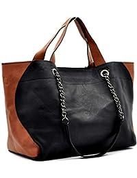 f36c20be43 borsa donna spalla tracolla bicolore marrone nero MADE ITALY HOBO sacco  secchio capiente catena spalla