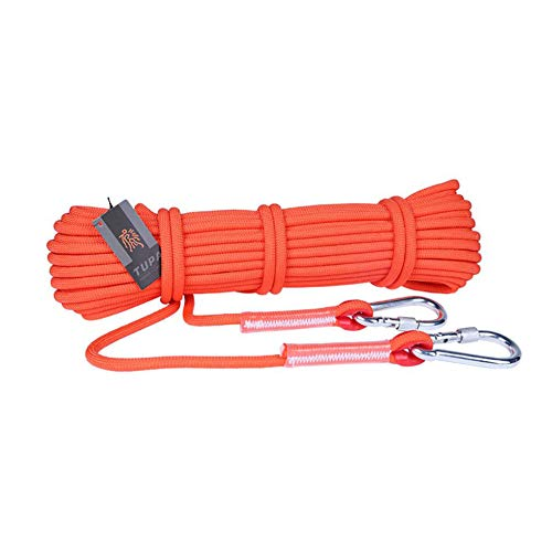 WYX Outdoor Rock Kletter-Rope Survival Fire Escape Safety Equipment Carabiner Durchmesser 9,5mm Camping Bergsteigen,Orange,20M