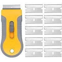 EEFUN Grattoir pour Plaque Vitrocéramique + 10 pièce Lames Métallique,Vitres/Miroir/Sol Nettoyage