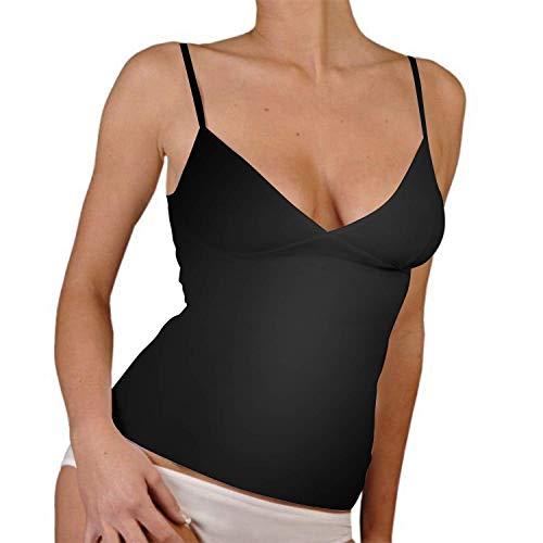 2 top spalla stretta con scollatura ad incrocio (3°(small) , nero)