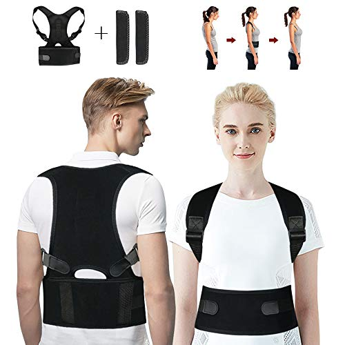 Guenx Haltungskorrektur, Geradehalter Schulter Rückenstütze, ideal zur Therapie für haltungsbedingte Nacken, Rücken und Schulterschmerzen für Damen und Herren(M)