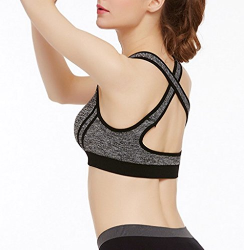 Smile YKK Soutien-gorge Fitness Femme Bra de Sport Yoga Running Dos Croisé Brassière Sans Armature Gris
