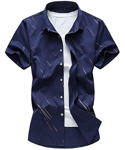 Cloudstyle Herren Kurzarm Buntes Freizeit Hemd Strand Urlaub Hawaii Shirt Dunkelblau