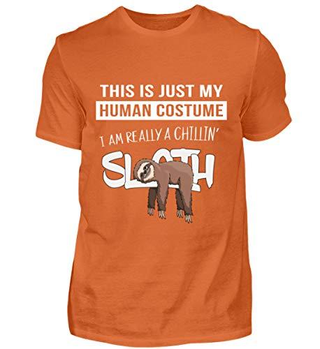 Männer Faul Kostüm - My Human Costume, I'm Really a Sloth - In Wahrheit EIN faules chilliges Faultier innen - Herren Premiumshirt -3XL-Dunkelorange