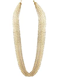 Zephyrr Jewellery Hand Made Golden White Pearl Multi Strand Necklace for Women and Girls