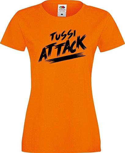 Shirtinstyle Lady T-Shirt Tussi Attack,orange, XXL
