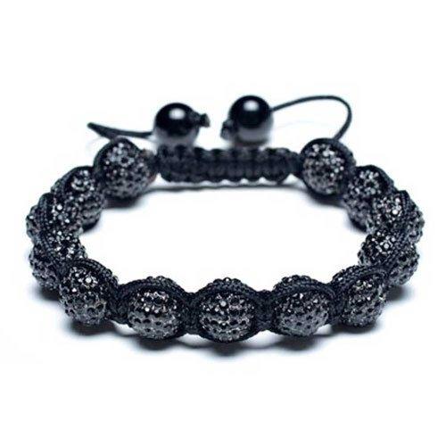 Bling Jewelry Schwarz Shamballa inspiriert Armband Crystal Beads 10mm Legierung
