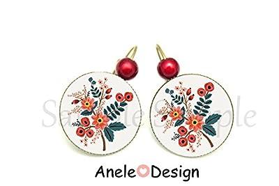 Boucles d'oreille motif Folk Slave - fleurs oranges perle rouge cabochon verre original motif folklorique