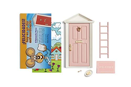 Ratoncito Pérez : Puerta Mágica Rosa + Escalera + Plato + Queso + Felpudo + Llave + Dibujo Fondo de Puerta + Postal de Felicitación
