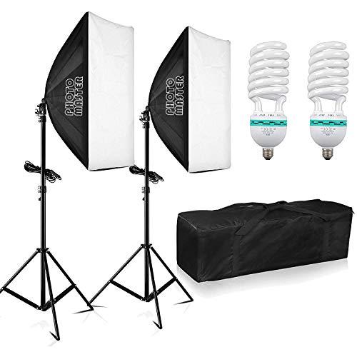 PHOTO MASTER Softbox Dauerlicht Studioleuchte 1250W Studioset Profi E27 50x70cm Fotografie Fotolampe, Faltbare Lampenstativ, Tragetasche