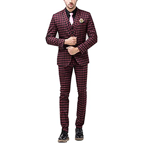 Tsui-Fashion Men's Plaid Vest Business One Button Suits Three Piece