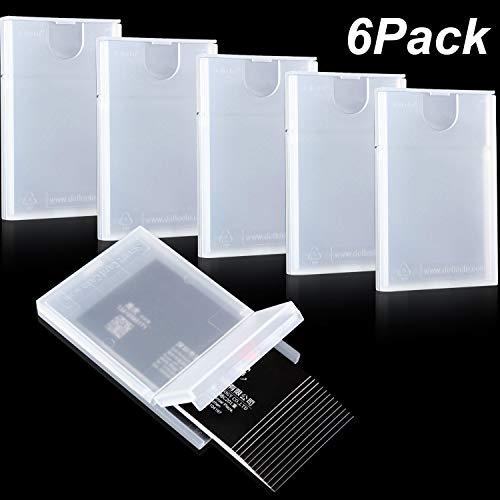Paquete de 6 tarjetero de plástico transparente tarjetero para hombres y mujeres, tarjetero portátil de bolsillo con tarjetero   Suficiente espacio: El tarjetero de plástico para tarjetas de visita almacena hasta 20 tarjetas de visita o de 4 a 6 tar...
