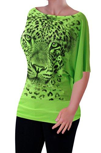 EyeCatch - Femmes Animale Imprimé Graphique Dames Manches Courtes Neon Tops Néon Vert