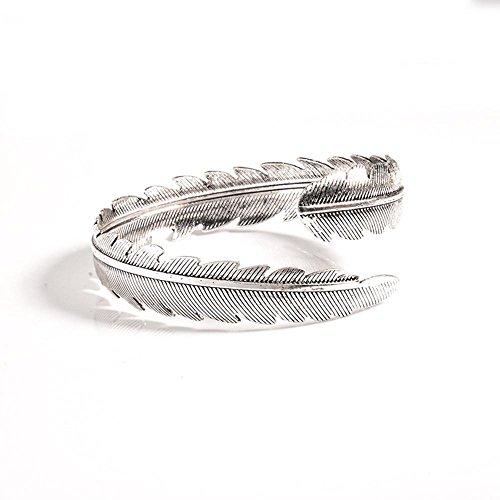 Jingmei Fashion ms retro metal piume braccio anello braccialetto, Silver