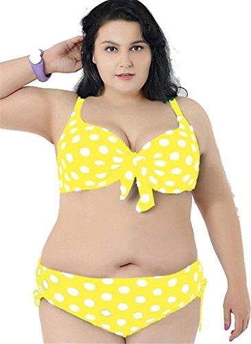 Tailloday Damen Bikini-Set Mehrfarbig - Gelb Weiß