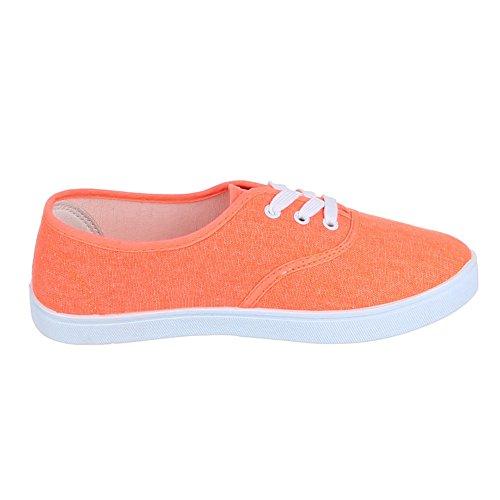Damen Schuhe Freizeitschuhe Schnürer Sneakers Low Top Ital-Design Orange
