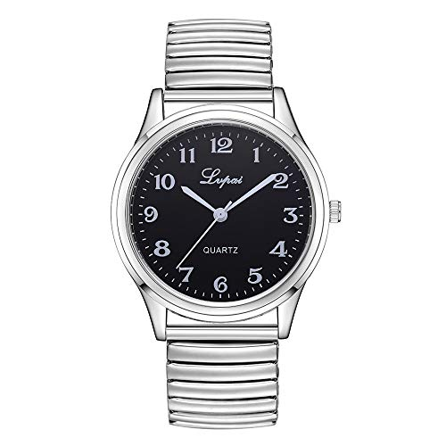 Suitray Paare Uhren, Liebhaber Edelstahlband Armbanduhr Herren Damen Analoge Quarzuhr Beiläufig Uhr Geschenk,Runde Zifferblattgehäuse Uhren
