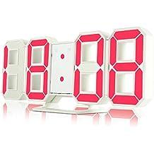 3D sveglia LED digitale, Ilifesmart elettrico orologio da tavolo con 24/12ore display e 3livelli di luminosità regolabile dimmerabile luce notturna snooze funzione per cucina casa ufficio, Red, Lightweight