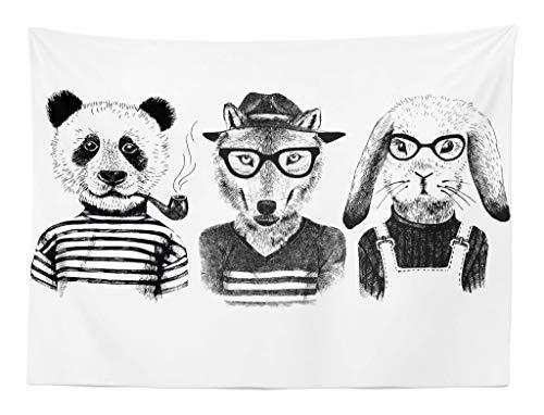 ABAKUHAUS Tier Wandteppich Hipster Panda Zigarre Foxaus Weiches Mikrofaser Stoff 150 x 110 cm Klare Farben Maschienenwaschbar Schwarz-grau-weiß - Mikrofaser Hipster