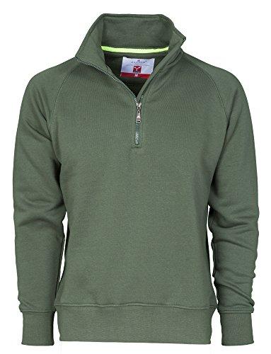 Felpa da lavoro maglia felpata cotone con mezza zip in tinta payper miami +, colore: verde, taglia: s