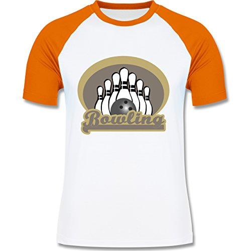 Shirtracer Bowling & Kegeln - Bowling Old School - Herren Baseball Shirt Weiß/Orange