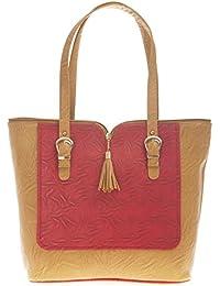 Aliado Faux Leather Solid Brown & Pink Zipper Closure Handbag For Women For Women