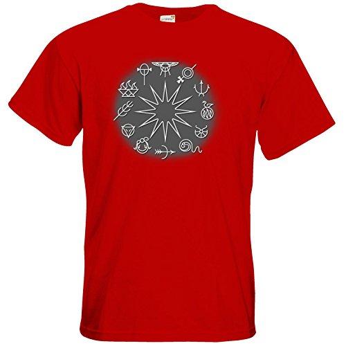 getshirts - Das Schwarze Auge - T-Shirt - Götter - Symbole - Zwölfgötterkreis Red