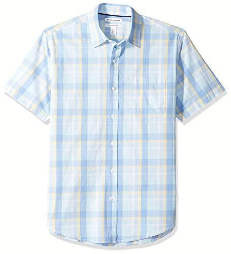 Amazon Essentials Regular-Fit Short-Sleeve Stripe Shirt Buttondown-Hemd, Aqua/Blue Plaid, US M (EU M) -