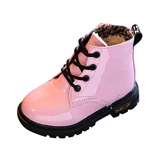 Chaussures pour Filles d'hiver, Moonuy Enfants d'hiver mode garçons filles Martin Sneaker chaussures Neige épaisse chaussures en cuir artificiel occasionnel Bottes imperméables (22, Rose)