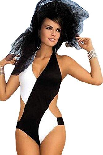 Preisvergleich Produktbild Loveours Damen Mädchen Strand Strappy Schwarz und Weiß Neckholder Monokini Bikini (L)