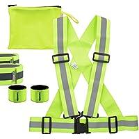 kwmobile 6in1 Set Reflektor Sicherheitsweste - 1x Warnweste 1x Reflektorarmband 2X Reflektor-Schnapparmband 1x Aufbewahrungstasche in Neon Gelb